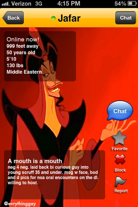 Disney's Jafar on Grindr