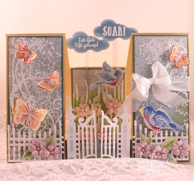 Our Daily Bread Designs Stamp sets: Belles Vignes, Spread Your Wings, Trois Jolies Papillons, Butterfly and Bugs, ODBD Custom Dies: Gilded Gate, Clouds and Raindrops, Birds and Nest, Butterfly and Bugs, ODBD Shabby Rose Paper Collection
