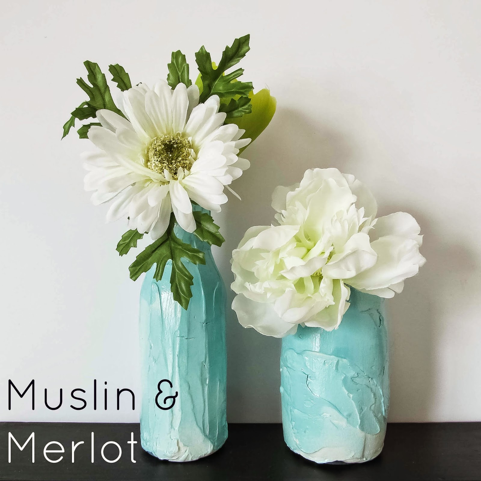 Upcycle jars into gorgeous textured vases muslin and merlot create a faux pottery finish for glass jars beautiful for rustic wedding themes or everyday home decor floridaeventfo Images