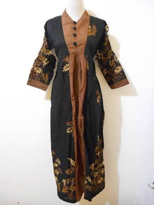 Model Baju Batik Gamis Kombinasi Untuk Orang Gemuk