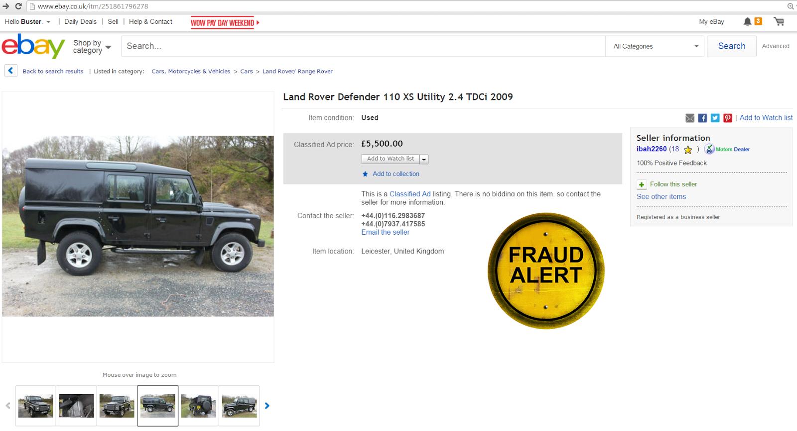 EBAY SCAM : DEALER HIJACK - I B MOTORS LTD - Land Rover Defender 110 ...