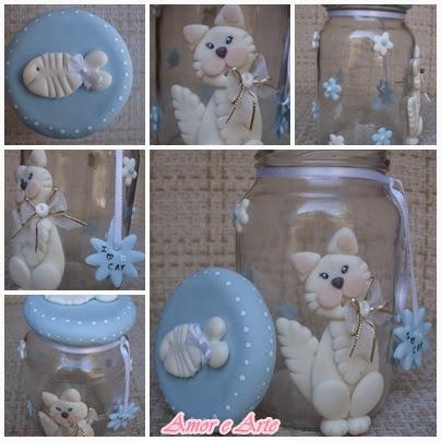 Vidro para ração, gatinho em biscuit (azul)