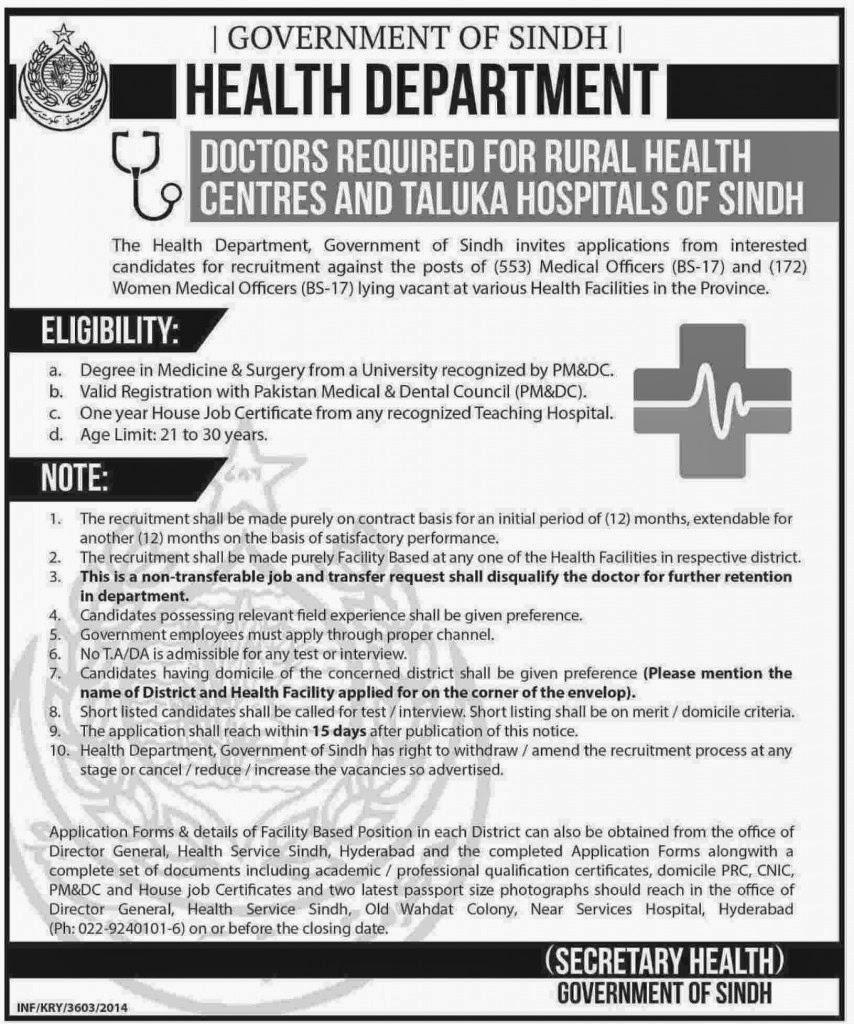 Doctor Jobs in Sindh Health Department 2014 15