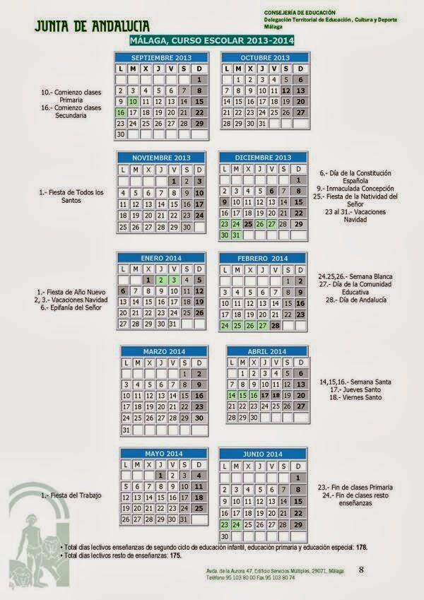 Calendario escolar 2014-2015