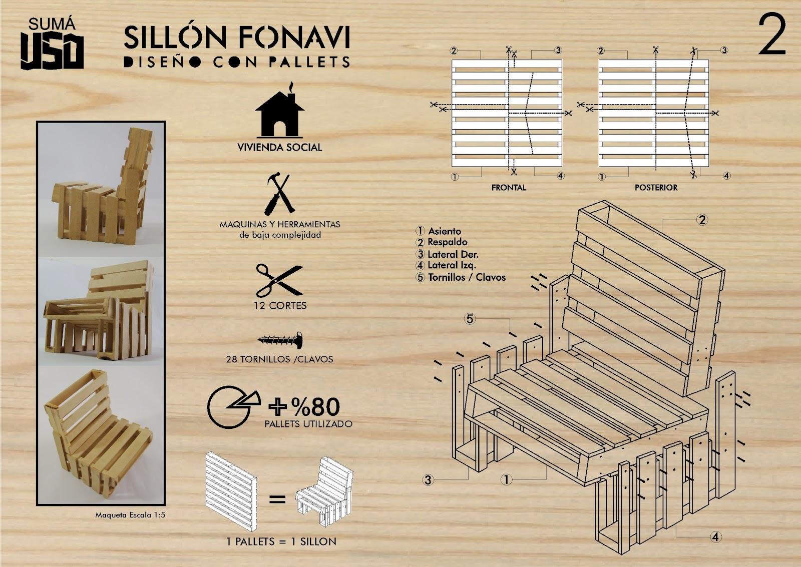 S n r disegno sillon fonavi dise o con palets - Sillon con palets de madera ...