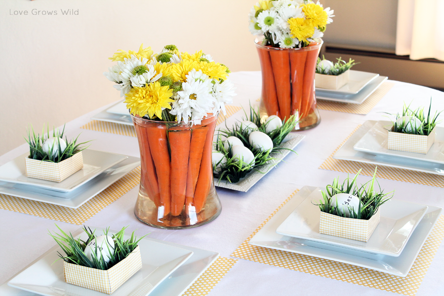 Spring inspired easter tablescape and carrot centerpiece