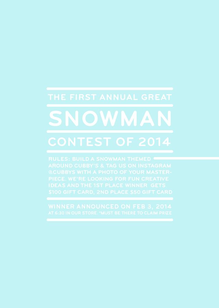 cubbys snowman contest rules