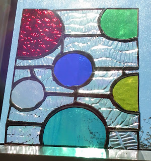 Mid-century modern inspired stained glass piece by Maria McMahon
