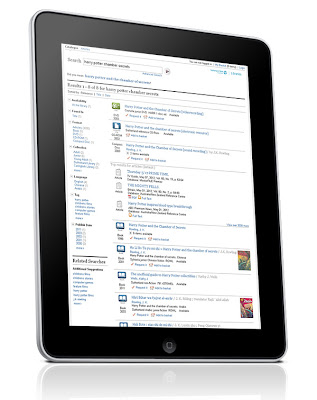 new library catalogue shown on iPad