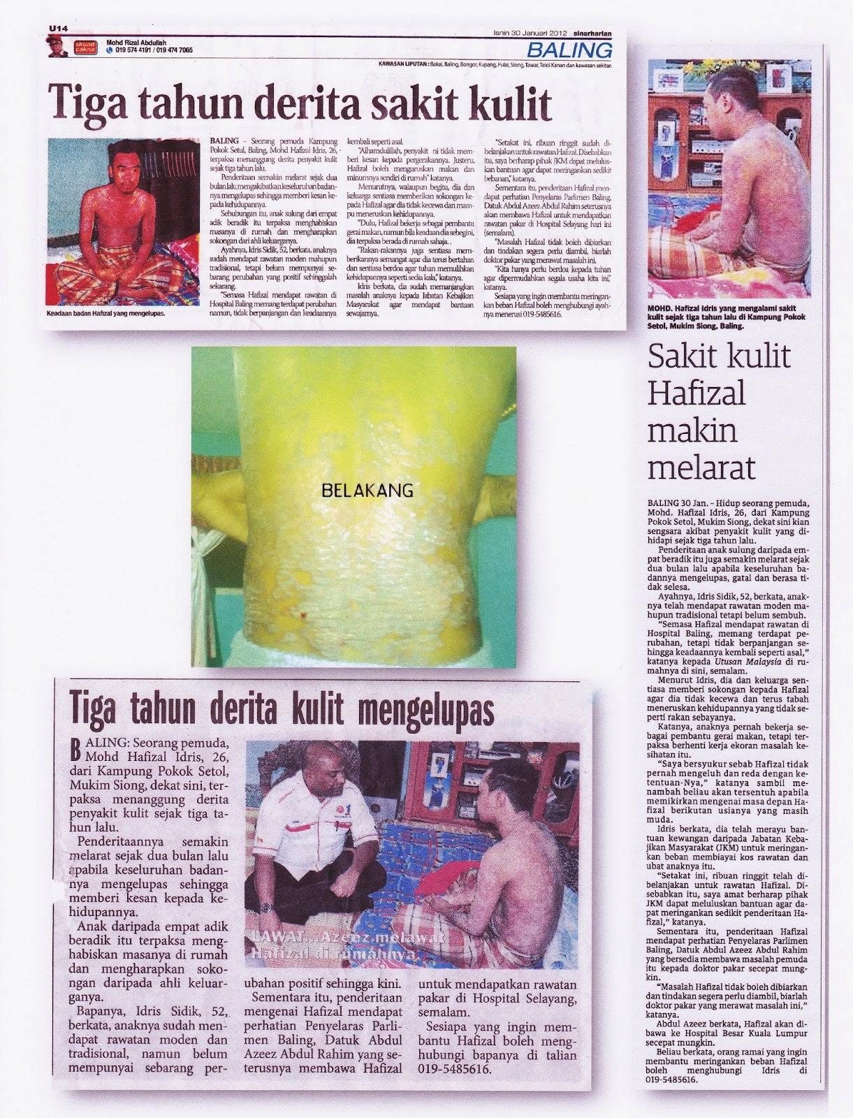 Keratan akhbar tentang penyakit hafizal
