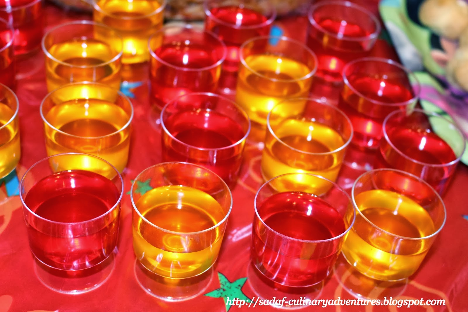 Colorful jello cups for Mickey and Minnie party