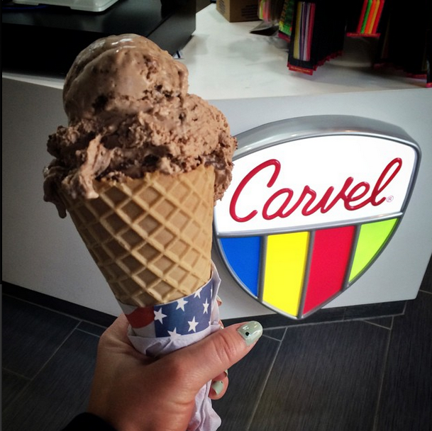 Nutella ice cream in a waffle cone at Carvel