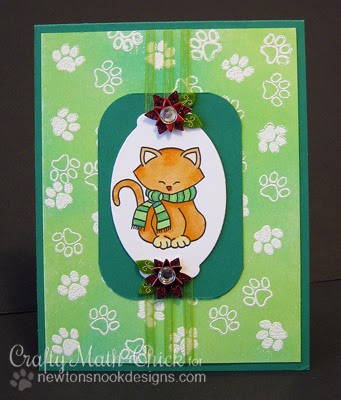 Green Kitty Card by Crafty Math-Chic using Newton's Nook Designs Stamps