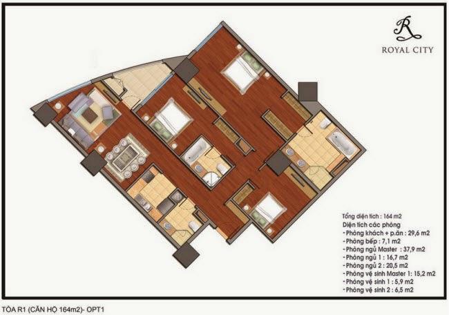 Chi tiết thiết kế căn hộ toà R1 chung cư Royal City diện tích 164 m2