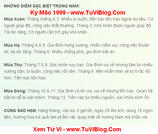 Xem Tu Vi 2016 Ky Mao 1999 Nam