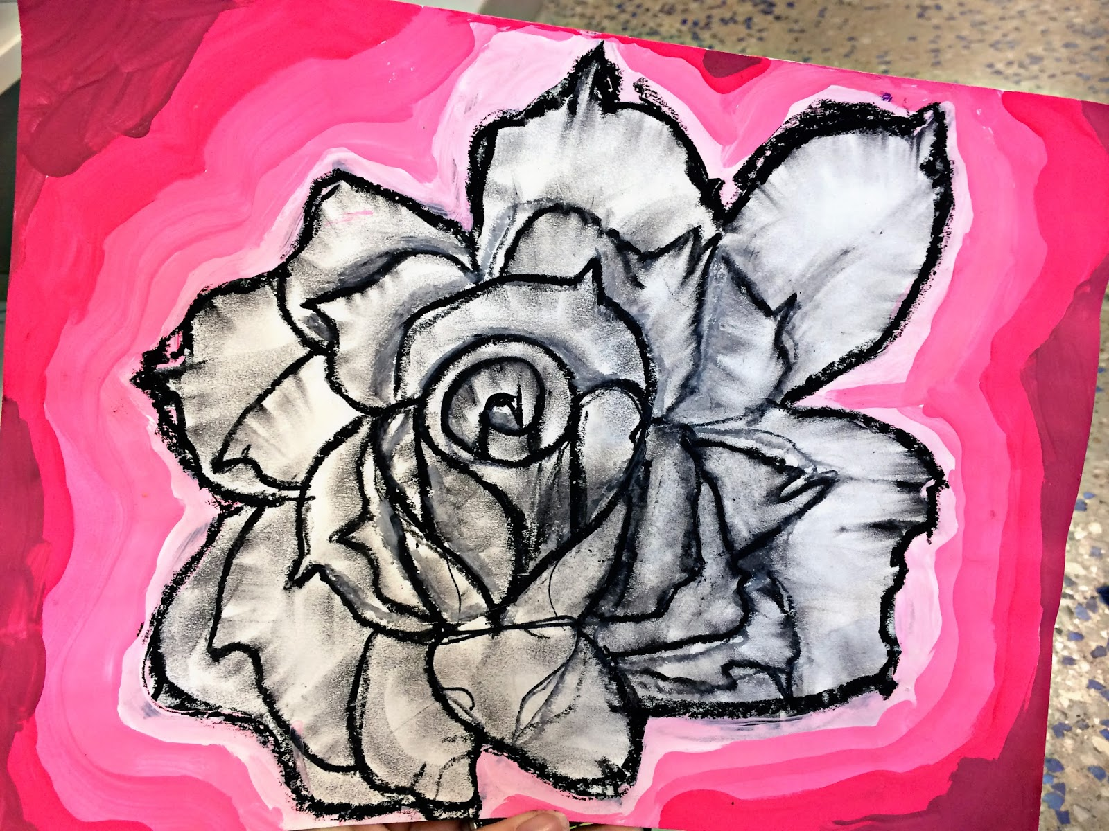 Color wheel art lesson for second grade -  They All Wanted To Make Black And Gray Roses With Neon Backgrounds I Love When A Creative Kid Completely Changes Up My Lesson Plans