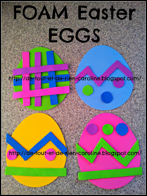 Foam Easter eggs to decorate from Everything and nothing: Activities for Preschool