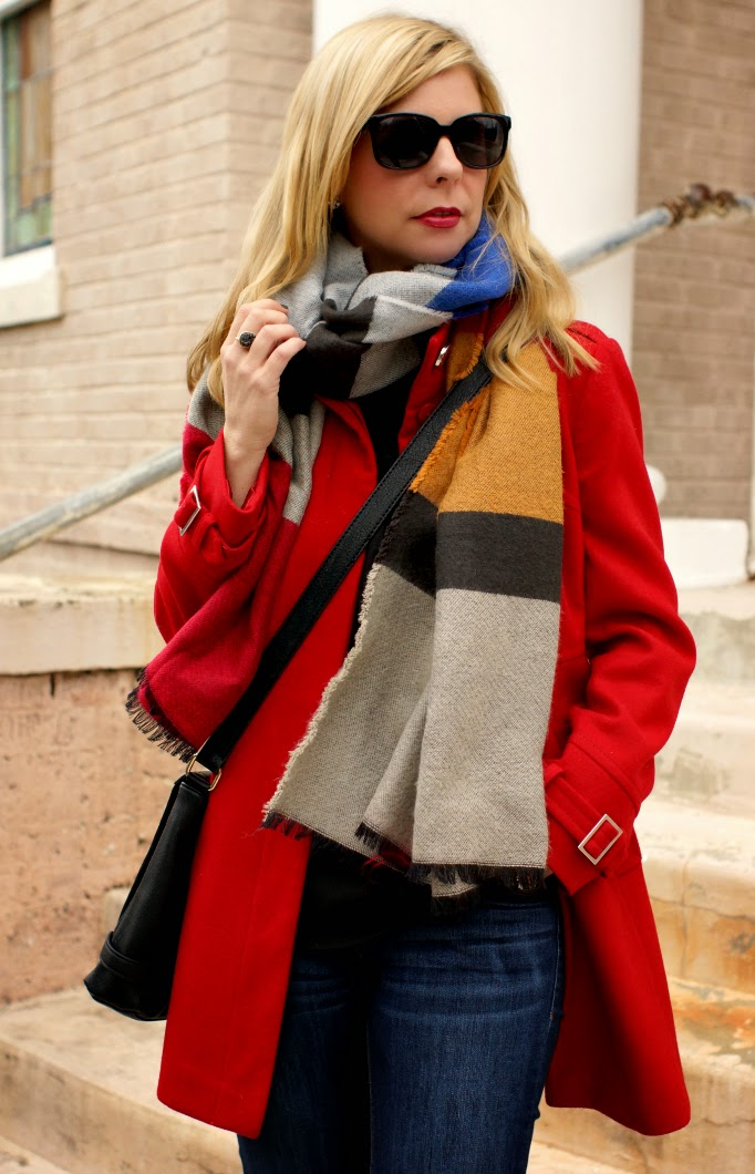 color block zara oversized blanket scarf