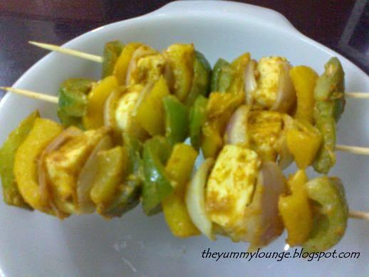 Paneer Tikka in Satay Stick Recipe