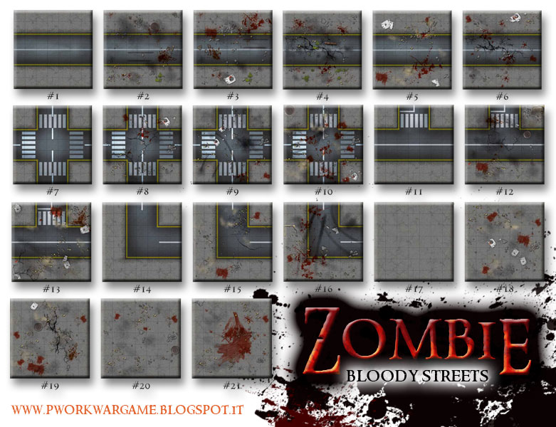 Zombie bloody streets pwork paper wargame dark tiles for Carrelage 7x7