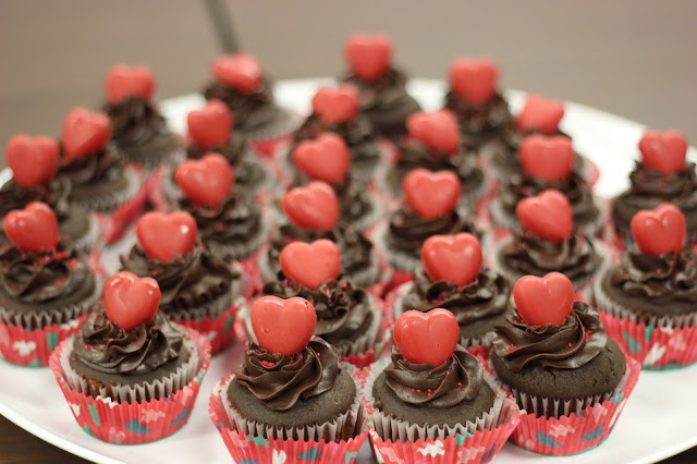 Red Chocolate Valentine's Day Cupcakes