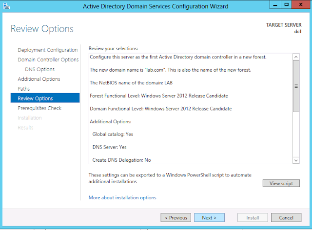 Review option on windows server 2012 active directory configuration