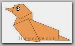Bước 9: Vẽ mắt để hoàn thành cách xếp con vịt bằng giấy theo phong cách origami.