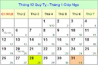 Lịch tết âm lịch năm 2014