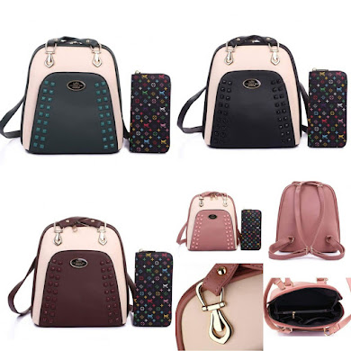 BACKPACK ( 2 IN 1 SET ) - BLACK , COFFE , DUSTY PINK , GREEN