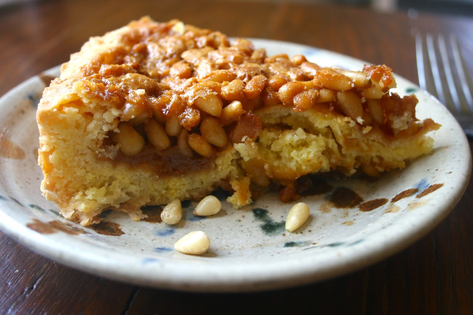 Pine Nut and Honey Tart Slice, Side View