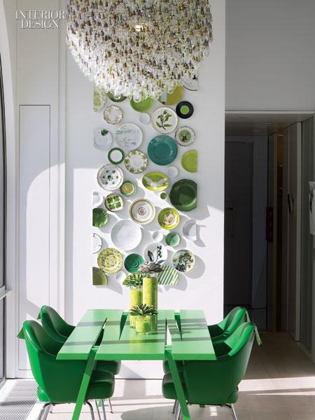 plates, art, green modern design