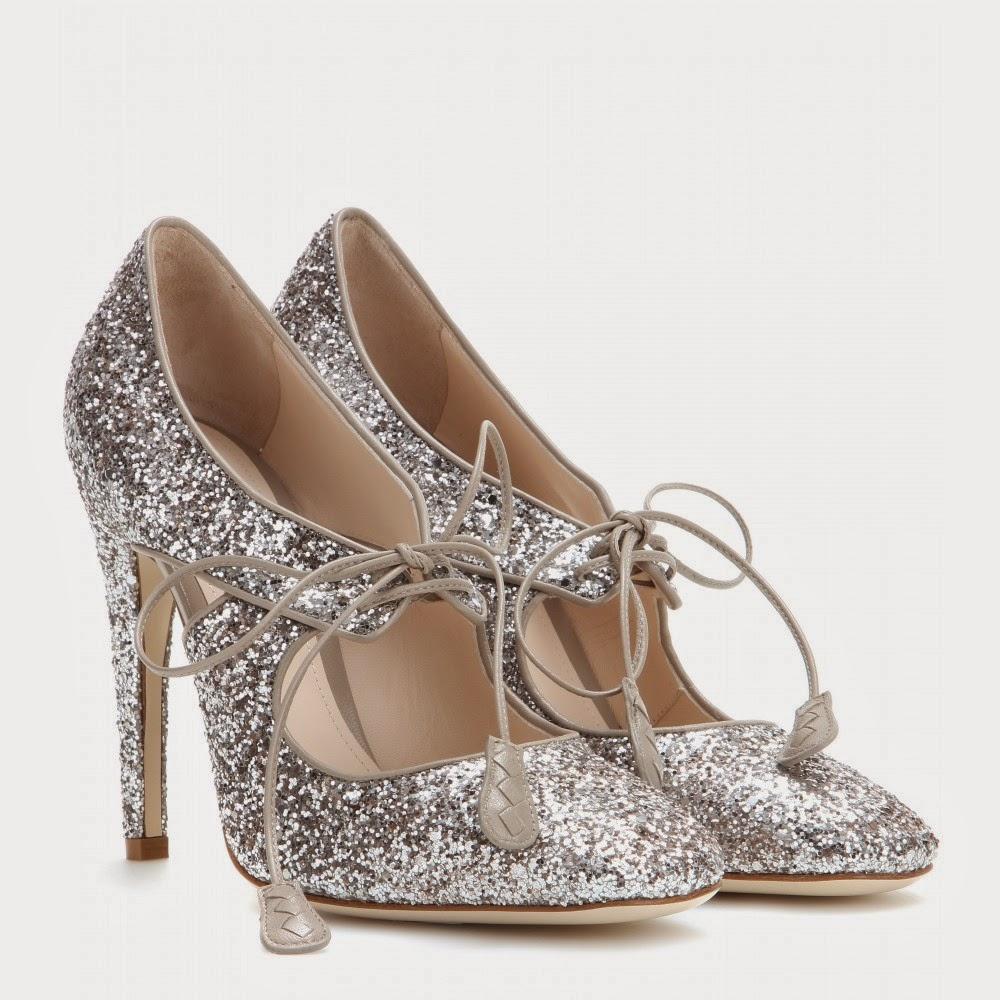Bottega Veneta Glitter Pumps - silver glittery lace up cut out heels