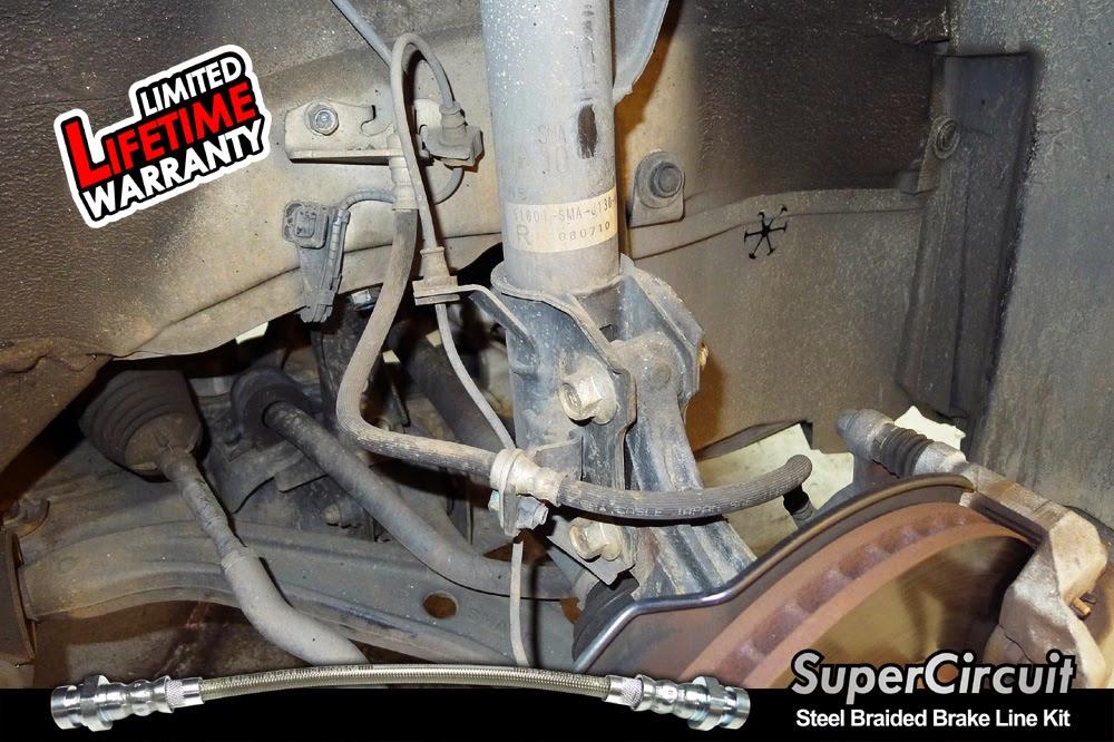 Steel Braided Brake Lines Installed : Supercircuit steel braided brake lines honda stream rn