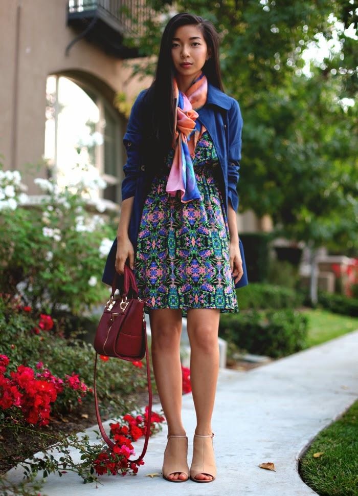 Stephanie Liu of Honey & Silk wearing Everly dress, Tulle coat, Danielle Nicole bag, and Rho scarf