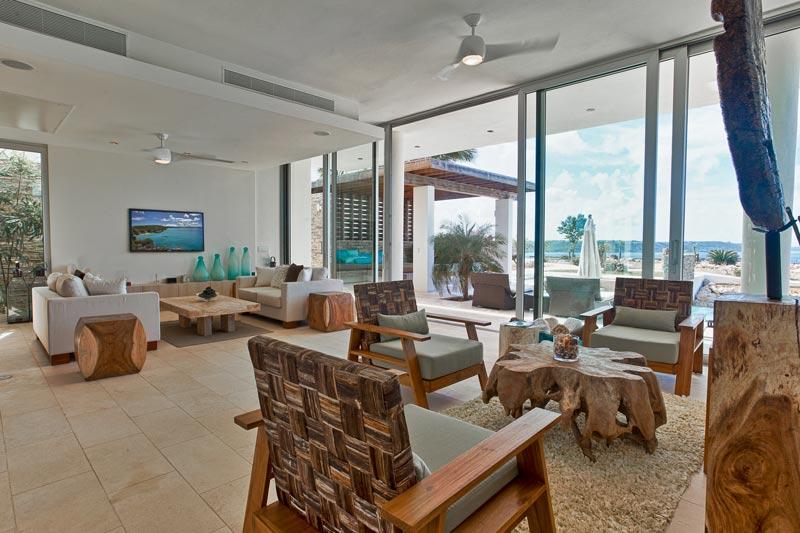 modern bright modern villa living room with wooden furniture caribbean furniture