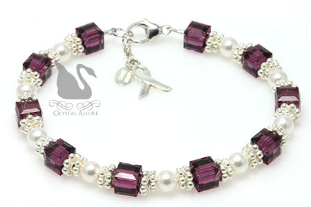 Sterling Purple Cystic Fibrosis Awareness Bracelet (B166)