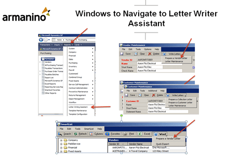 Screenshot of Navigating to Letter Writer Assistant in Dynamics GP