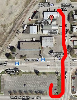Map to Southgate Mall Parking Lot