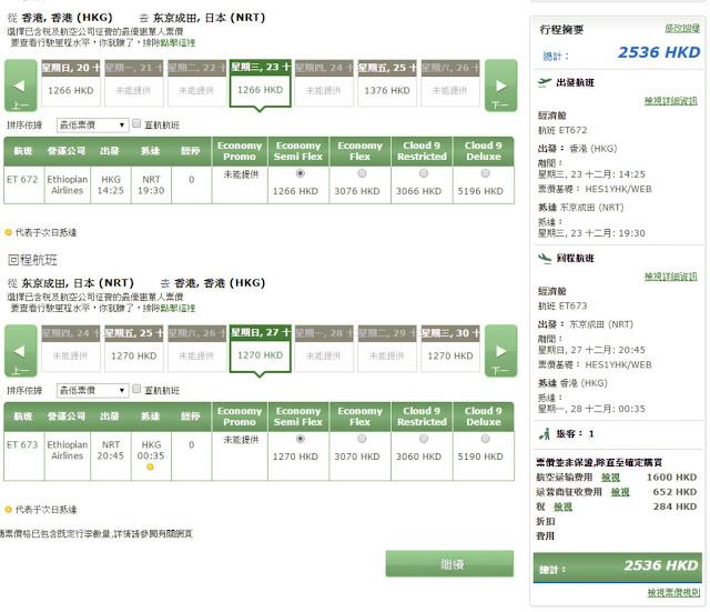 埃塞俄比亞航空【聖誕出發】香港飛東京 HK$1,600起(連稅HK$2,536)