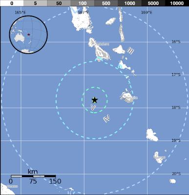 Epicentro sismo 6,1 grados en Vanuatu, 28 de Febrero de 2013