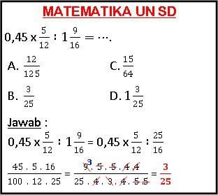 Belajar Matematika Online Latihan Soal Un Sd
