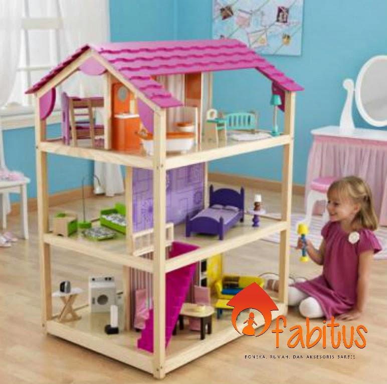 Деревянный кукольный домик для барби