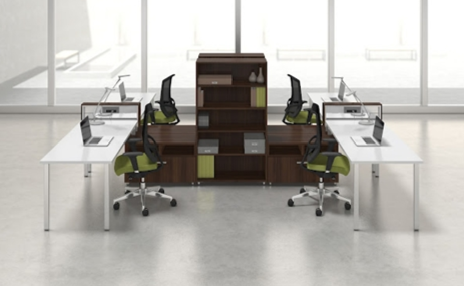 Think outside the cubicle multi user desk configurations for Furniture configurations for small spaces