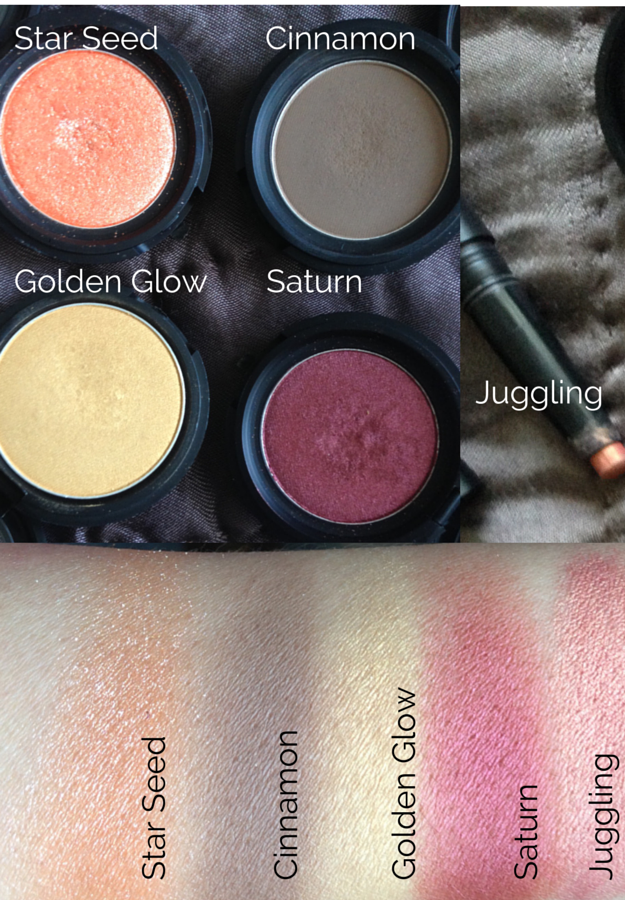 3CE Eyeshadow Review Swatches Star Seed Cinnamon Golden Glow Saturn Juggling