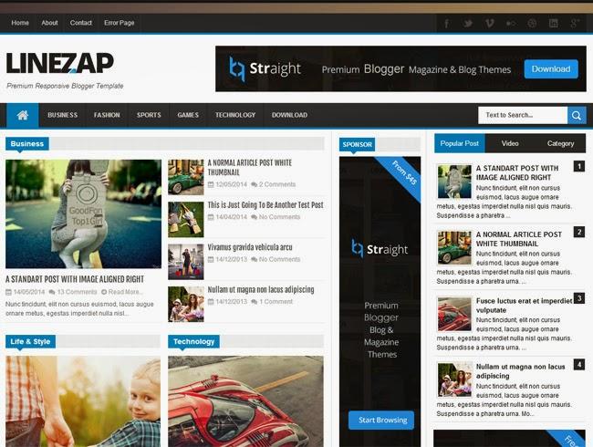 Linezap Responsive Blogger Template