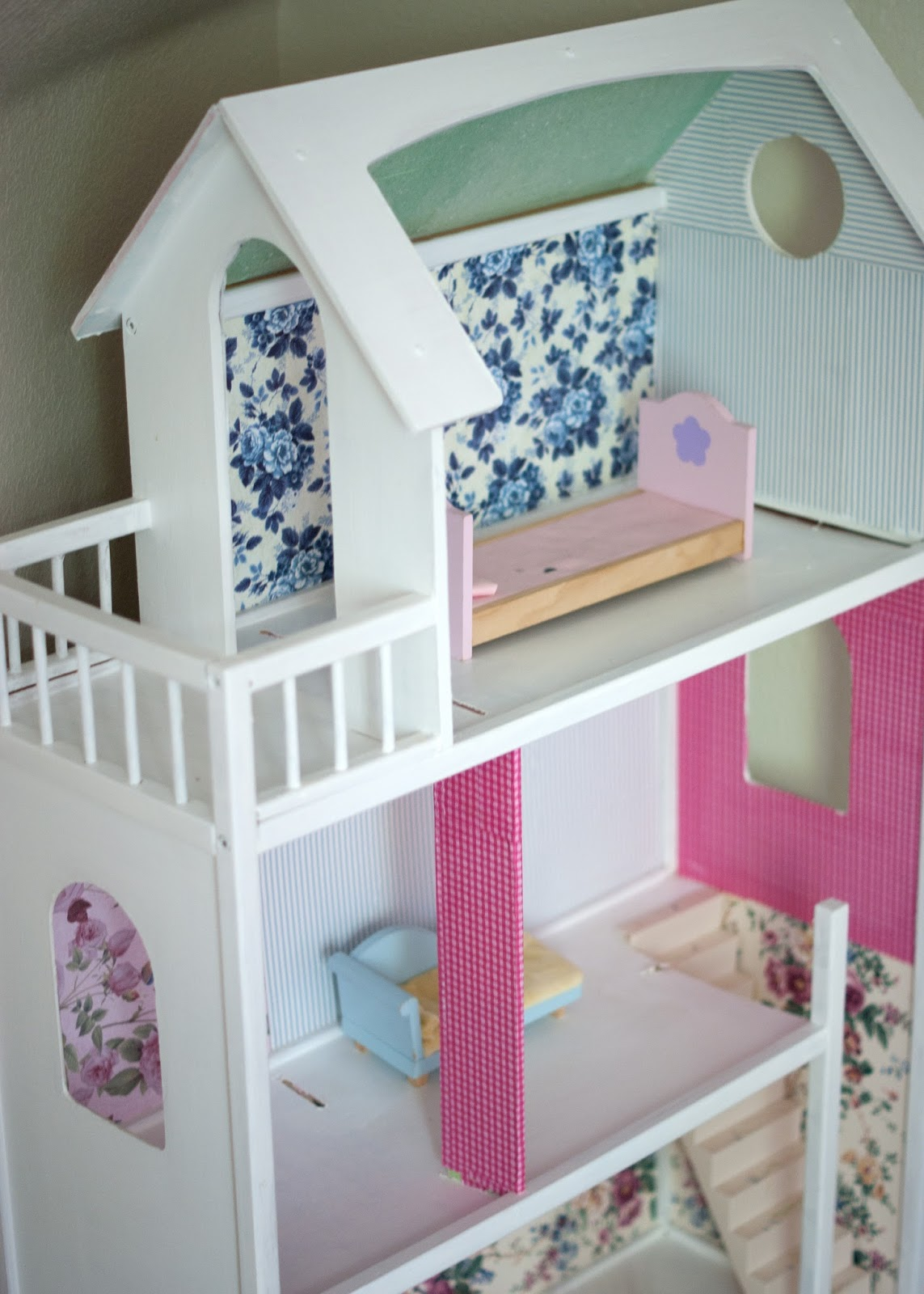 Dollhouse Makeover - vintage wallpaper and scrapbook paper