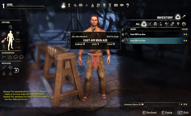 Elder Scrolls Online inventory screen