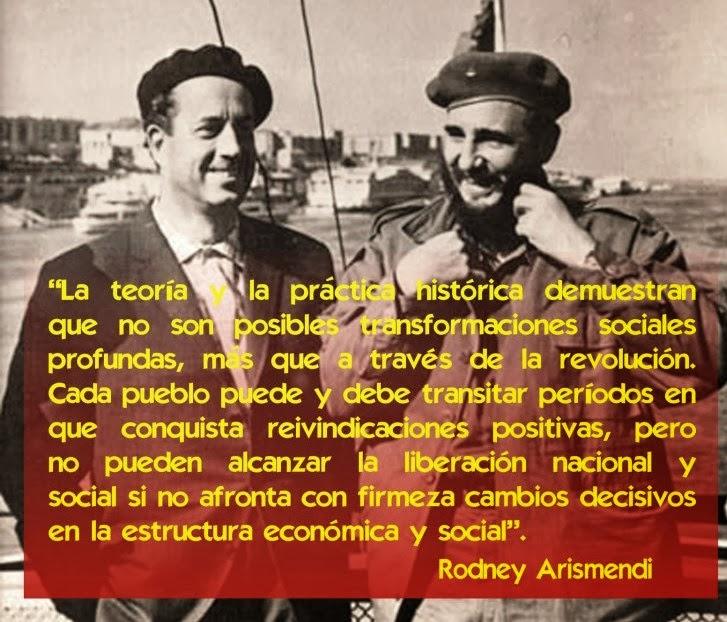 Rodney Arismendi y Fidel Castro