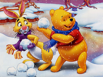 Winnie the Pooh and Rabbit in Snow