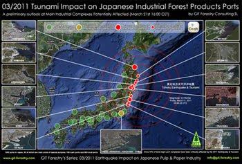 2011 Japan Earthquake & Tsunami Impact on Japanese Forestry Product Ports, Preliminary Assessment Map / Mapa preliminar de Impacto del Terremoto y Tsunami de Japon 2011 en los puertos de importacion y exportacion de productos forestales de Japon, en la industria de pulpa celulosica y de papel del Japon y en la importacion de astillas de madera de eucalipto a Japon / パルプ紙2011年の日本地震の影響の予備的な地図セルロース日本 / เยื่อแผ่นดินไหวญี่ปุ่นและแผนที่อุตสาหกรรมกระดาษ / Япония 2011 целлюлозно землетрясения и карта бумажной промышленности / اليابان اللب والورق زلزال 2011 خريطة صناعة / Mapa Preliminar de Impacto do Terramoto e Tsunami de Japão  2011, nos portos de importaçao e exportaçao de produtos florestais do Japão, na industria do papel e celulose do Japão  e na importaçao de chips de madeira de eucalipto do Japão / Gustavo Iglesias Trabado, GIT Forestry Consulting SL, Consultoria y Servicios de Ingenieria Agroforestal, Lugo, Galicia, España, Spain / Eucalyptologics, Information resources on sustainable eucalypt cultivation worldwide / Recursos de informacion sobre el cultivo sostenible del eucalipto en el mundo